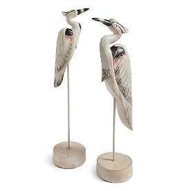 Wooded Stork Sculptures, Set of Two