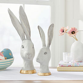Rabbit Head Decor, Set of Two
