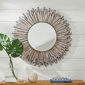 Natural Wood Sunburst Mirror