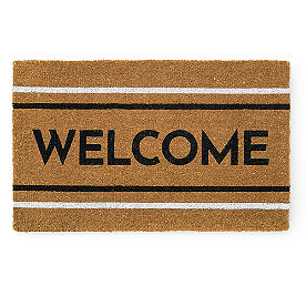 Welcome Stripe Coir Door Mat