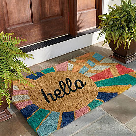 Hello Sunburst Coir Door Mat