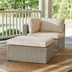 Garda Wicker Balcony Chair & Ottoman, Left Arm Facing