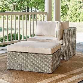 Garda Wicker Balcony Chair & Ottoman, Right Arm Facing