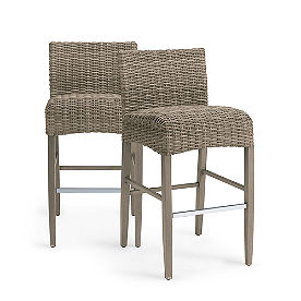 Simsbury Wicker Bar & Counter Stools, Set of Two