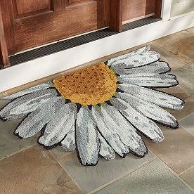 Floral Half-Round Hooked Door Mat