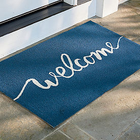 Script Welcome Hooked Door Mat