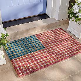 Gingham Flag Coir Door Mat