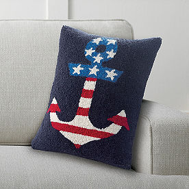 Flag Anchor Hooked Pillow