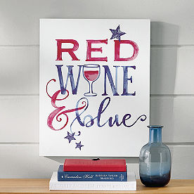 Red Wine and Blue Watercolor Canvas