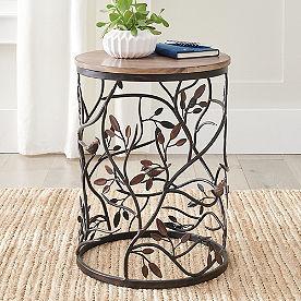 Bird Barrel Wood Side Table