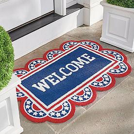Americana Welcome Hooked Door Mat