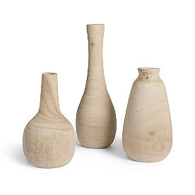 Raw Wood Vases, Set of Three