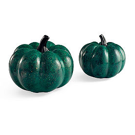 Green Marble Pumpkins, Set of Two