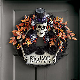 Beware Skeleton Wreath