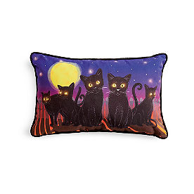 Moonlight Cats Pillow with Lights