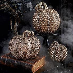 Geometric Gold Pumpkins, Set of Three