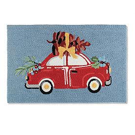 Christmas Car Hooked Door Mat