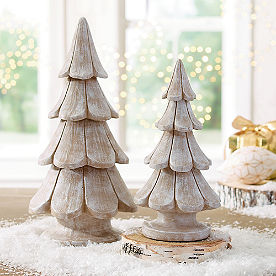 White Washed Tabletop Trees, Set of Two