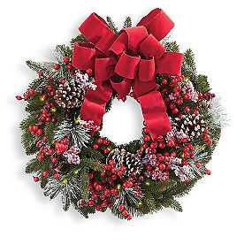 Noel Cordless Wreath with Bow