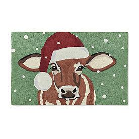 Santa Cow Hooked Door Mat