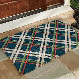 Festive Plaid Coir Door Mat