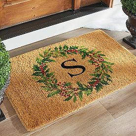 Monogram Holly Wreath Coir Door Mat