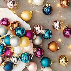 Jewel Tone Mini Ornaments, Set of 32