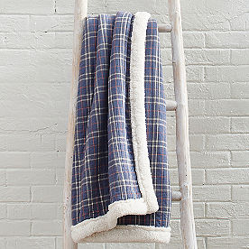 Plaid Sherpa Throw