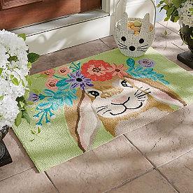 Floral Bunny Hooked Door Mat