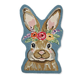 Shaped Bunny Hooked Door Mat