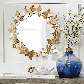 Gold Butterfly Mirror