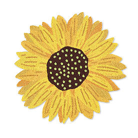 Sunflower Shape Hooked Rug