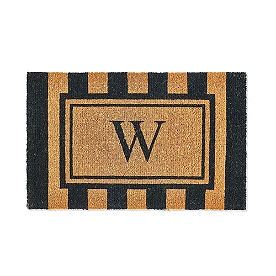 Bistro Stripe Monogram Coir Door Mat