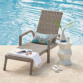 Simsbury Outdoor Wicker Chaise Lounge