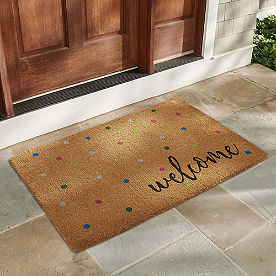 Welcome Confetti Coir Door Mat
