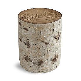Faux Bois Garden Stool, Paper Birch