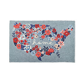 Patriotic Floral Hooked Door Mat