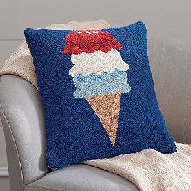 Patriotic Scoop Hooked Pillow