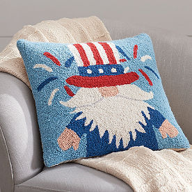 Patriotic Gnome Hooked Pillow