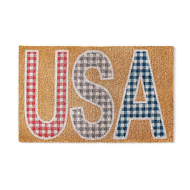 USA Gingham Coir Door Mat