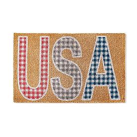USA Gingham Coir Door Mat