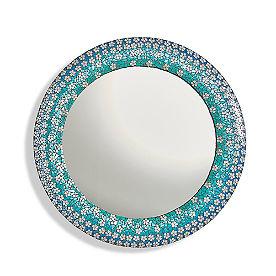 Round Floral Mosaic Mirror