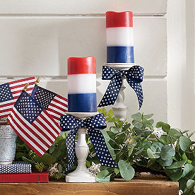 Red, White and Blue Blocked Candle