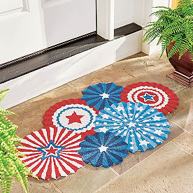 Patriotic Fireworks Hooked Door Mat