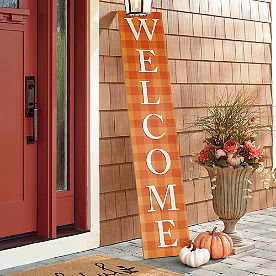 Orange Check Welcome Sign