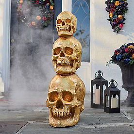 Gold Stacked Skull Topiary