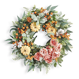 Peony Pumpkin Wreath