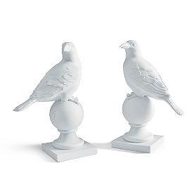 White Raven Statues, Set of Two