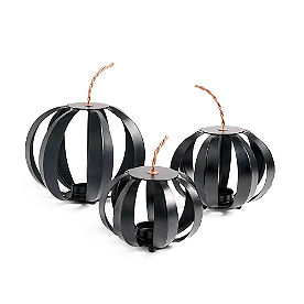 Black Pumpkin Lanterns, Set of Three