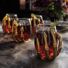 Skeleton Hand Wine Glasses, Set of Four